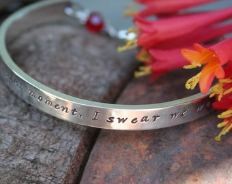 Personalized Bracelet - Sterling, Hand Stamped with Birthstone Clasp