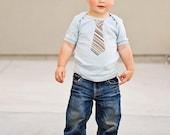 LIGHT BLUE LAP T Multi color striped neck tie  applique ..........Very cute baby gift