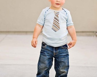 LIGHT BLUE LAP T Multi color striped neck tie  applique ..........Very cute baby gift
