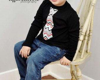 FUN NECKTIE APPLIQUED on a black / white  rib tee.....Toddler necktie shirt....Great  birthday, wedding or church outfit