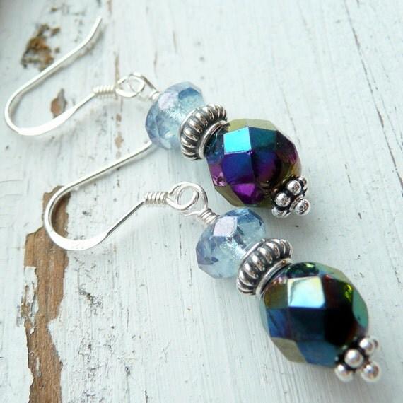 Artisan OOAK Blue Black Light Blue Faceted Czech Glass Beads Sterling SilverBali Beads  Boho Hippie Goth Festival Gift for Her Earrings