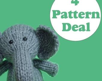 KNITTING PATTERN DEAL - 4 Animal Toy Patterns - you choose (pdf)