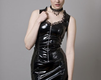 Black PVC Pencil Skirt-Made to Order
