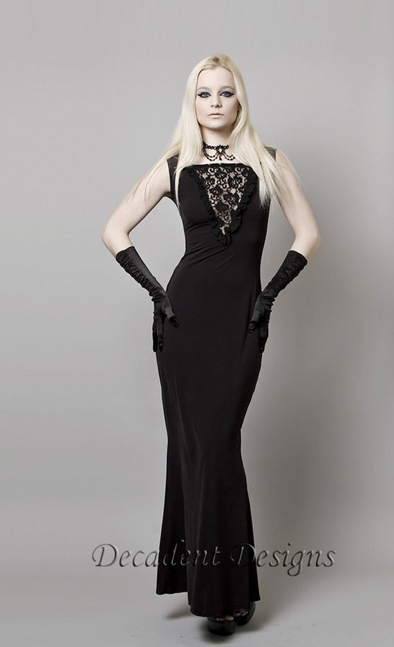 Black Mermaid Dress with Lace-Made to order