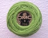 DMC Pearl Cotton Balls Size 8   704 Bright Chartreuse