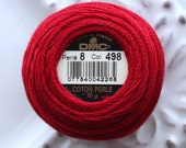 DMC 498 - Size 8 - Dark Red Perle Cotton Thread