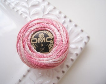 DMC Perle Cotton Thread Size 8 Variegated White, Light Pink, Pink 62