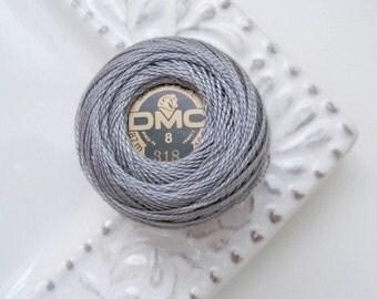 DMC 318 Light Steel Gray Perle Cotton Thread Size 8