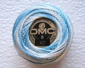 DMC Perle Cotton Thread 67 Size 8 Variegated Very Light Baby Blue, White