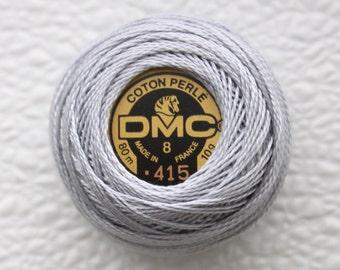 DMC 415 - Pearl Gray - Perle Cotton Thread Size 8