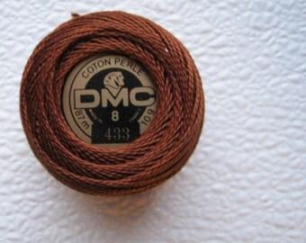 DMC Perle Cotton Thread Size 8 Medium Brown 433