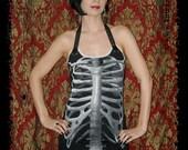 Skeleton Dress Halloween Tunic Top Horror Clothing gothic alternative apparel halter shirt S M L XL