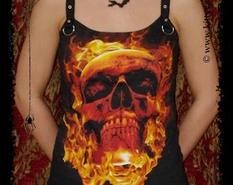 Flaming Skull shirt gothic top halloween gothic clothing alternative apparel biker rocker chic horror clothes t-shirt dark style fashion