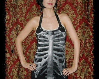 Skeleton Dress Halloween Tunic Top Horror Clothing gothic alternative apparel halter shirt S M L XL