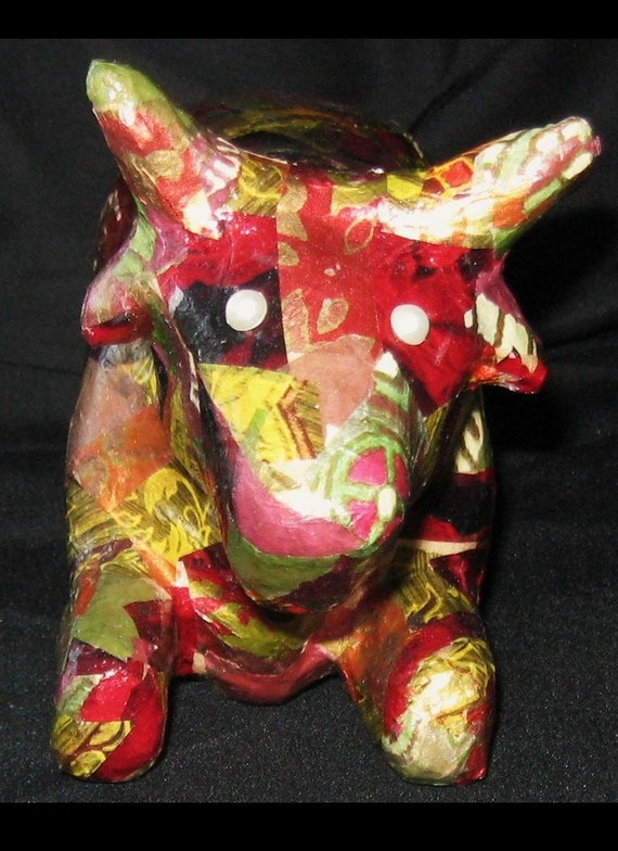 Cow decoupage paper mache ooak by eyestreetgal on etsy for What can you paper mache
