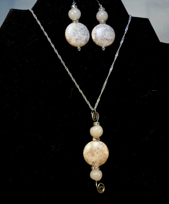 White Gemstone Sterling Silver Necklace and Earrings Set