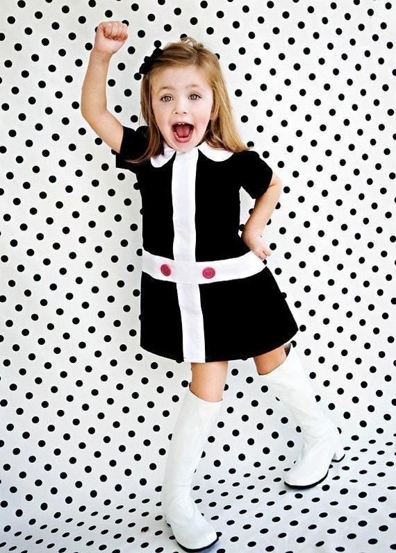 Mod 1960 39 S Style Retro Lauren Black And White Dress Children Clothing Girls
