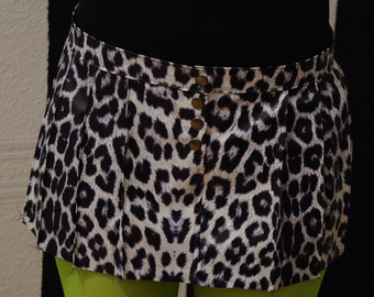 Leopard print skirt, black and white punk micro mini. Clubbing skirt, fetish skirt, rave skirt, mini skirt, vegan leather skirt MASQ