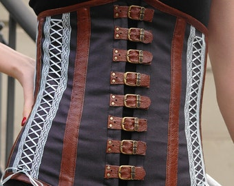 Steampunk corset, brown corset, lace corset, boned corset with buckle closure, leather corset, brown leather corset, MASQ