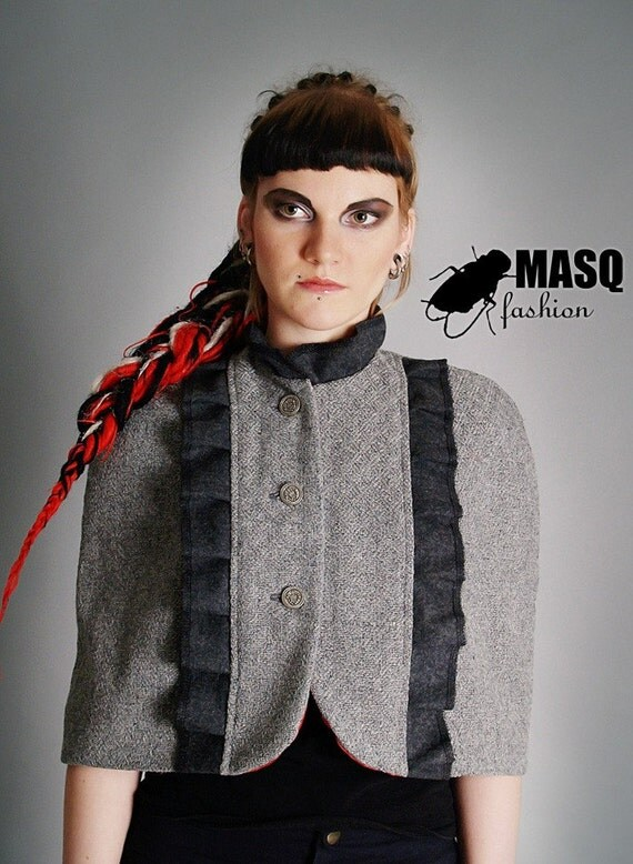 MASQ Grey victorian, steampunk, noir, cabaret styles inspired capelet with ruffles on front. Fall Autumn fashion. Classic. Size S - M