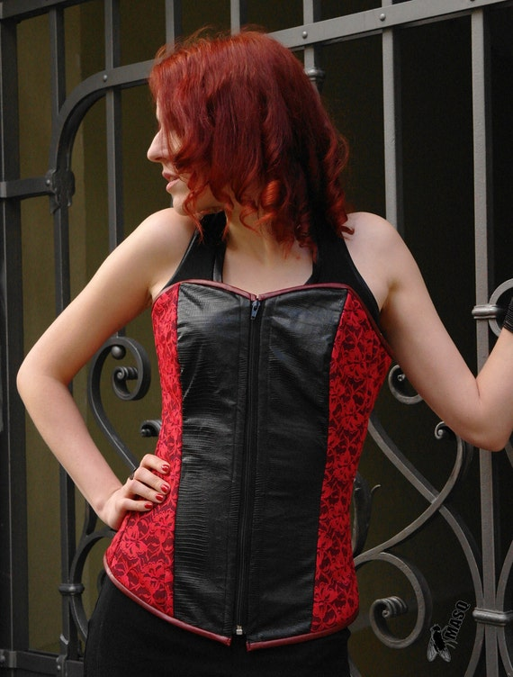 MASQ Gothic black crocodile fake leather and red lace steel boned overbust corset. Size L - for 31 inches waist