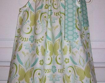 Pillowcase Dress with Butterflies Blue Dress Bella Butterfly Dress Michael Miller baby dress Spring Dress for Easter Dress with Butterflies