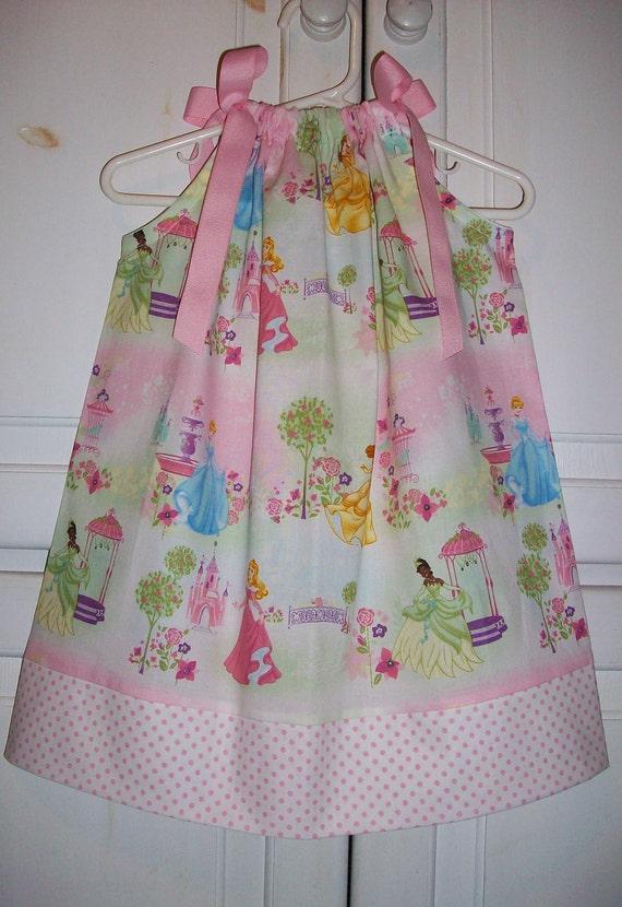 Pillowcase Dress DISNEY PRINCESS Pink with Princess Tiana Belle Sleeping Beauty and Cinderella