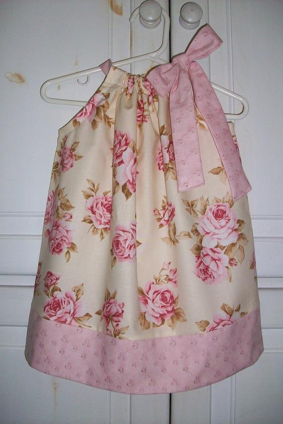 Pillowcase Dress COTTAGE ROSE Cream Pink Shabby Chic Spring toddler girl size 18m