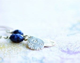 earrings, fine silver, sodalite, serenity, pmc, precious metal clay