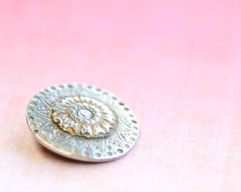 fine silver pendant, pmc, precious metal clay, solstice