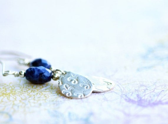 earrings, fine silver, sodalite, serenity, pmc, precious metal clay