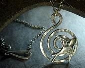 Bird Pendant Spiral Hammered Sterling Silver - Soar Like a Bird