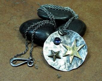 Sterling Silver Pendant with Brass Stars and Iolite - Wish Upon a Star Pendant