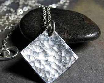 Hammered Sterling Silver Geometric Pendant Necklace - Sparkle on the Square