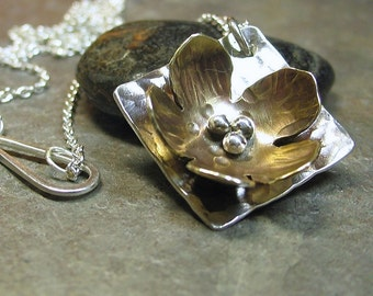 Flower Pendant Necklace sterling silver and brass - La Petite Buttercup