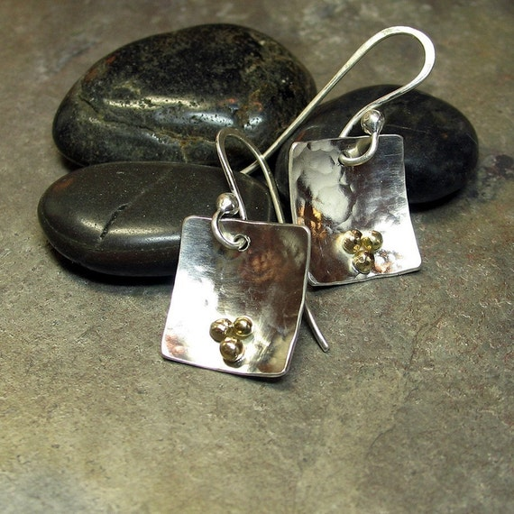 Hammered Earrings, Sterling Silver with 14kt gold balls - Three Golden Grains