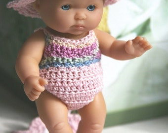 Crochet outfit for Berenguer 5 inch Lots to Love Baby doll Beach Baby Sunsuit swimsuit Blanket, Hat Sandals
