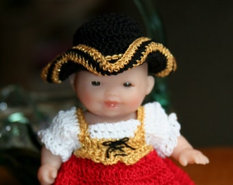 Crochet outfit Berenguer 5 inch Lots to Love baby doll Wench Pirate Lady Outfit  Red gold