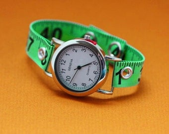 Tape Measure Watch in Green - Round Face - Statement Jewelry created with Upcycled Measuring Tape