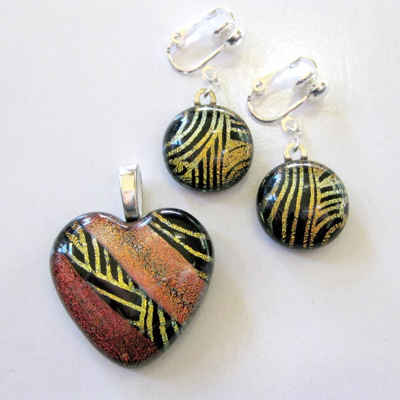 Dichroic Glass Heart Pendant and Dange Earrings Set, Orange Gold, Fused Glass Jewelry, Gift for Wife - Warm Embrace - 3532-1132