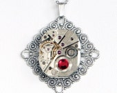 Steampunk Silver Filigree Necklace with Vintage Watch Movement and Ruby Red Swarovski Crystal by Velvet Mechanism