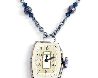 Steampunk Silver Necklace with Vintage WINDING Watch with Silver Filigree and Swarovski Blue Crystal Beads by Velvet Mechanism