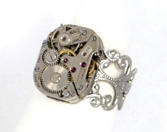 Steampunk Elegant Silver Filigree Ring with Vintage Helbros Watch Movement by Velvet Mechanism
