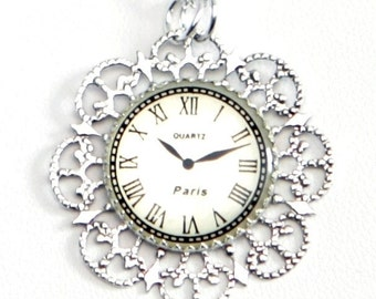 Steampunk Neo-Victorian Lolita Silver Filigree Necklace with Paris Clock Face by Velvet Mechanism