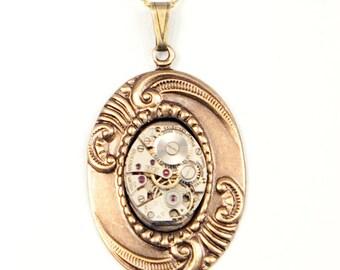 Steampunk Antiqued Brass Art Nouveau Oval Flourish Necklace with Vintage Watch by Velvet Mechanism