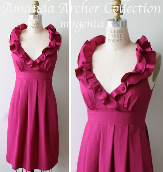 Magenta Pink Dress, Bridesmaid, Made to Order, cotton with pockets