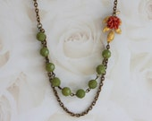 Coral Flower Necklace, Green Gemstone Necklace , Vintage Bridal Jewelry, Flower Necklace