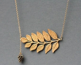 Gold Leaf Necklace, Gold Fern Necklace, With Pinecone Charm 14 Karat Gold Filled Chain, Woodland Jewelry