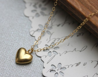 Heart Necklace Gold Puffy Heart Necklace 24 Kt Gold Vermeil Small Valentine Love Charm Necklace
