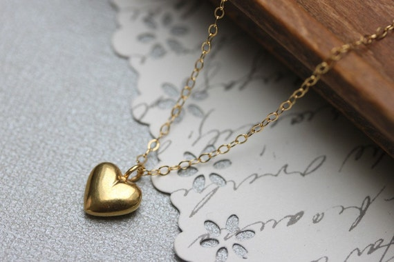 Tiny Puffy Heart Necklace - 24 Kt Gold Vermeil Small Valentine Love Charm Necklace